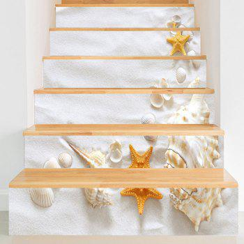 Beach Style Conch Shell Starfish Printed Stair Stickers - WHITE WHITE