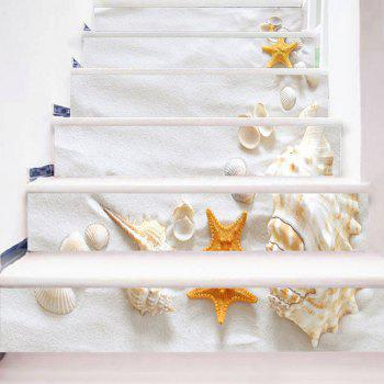 Beach Style Conch Shell Starfish Printed Stair Stickers - WHITE 100*18CM*6PCS