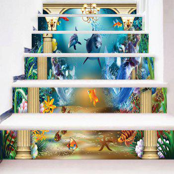 Underwater Animal World Stair Riser Stickers - BLUE 100*18CM*6PCS