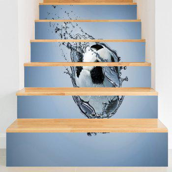 Novelty Football Pattern Sport Stair Stickers - BLUE GRAY BLUE GRAY