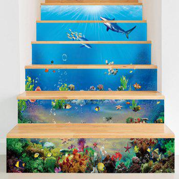 Sea World Dolphins Print Decorative Stair Decals - BLUE BLUE
