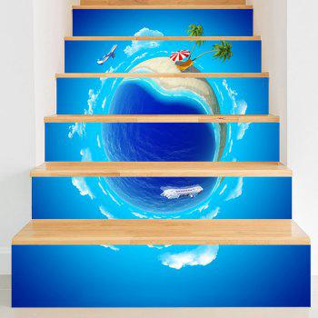 Summer Holidays 3D Planet Pattern Stair Stickers - BLUE BLUE