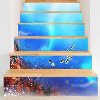 Sea World Fish Pattern Decorative Stair Stickers - BLUE BLUE
