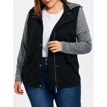 Plus Size Drawstring Hooded Jacket - GRAY GRAY