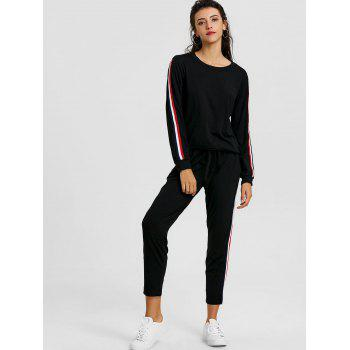 Sweatshirt With Pants Striped Sweat Suits - BLACK S