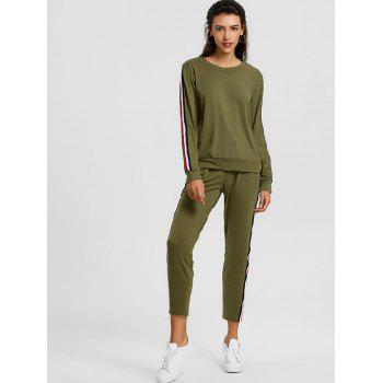 Sweatshirt With Pants Striped Sweat Suits - GREEN XL