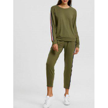 Sweatshirt With Pants Striped Sweat Suits - GREEN GREEN