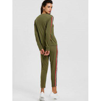 Sweatshirt With Pants Striped Sweat Suits - GREEN L