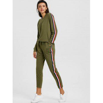 Sweatshirt With Pants Striped Sweat Suits - GREEN M