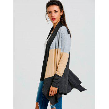 Color Block Striped Cardigan - BLACK M