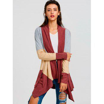 Color Block Striped Cardigan - RED XL