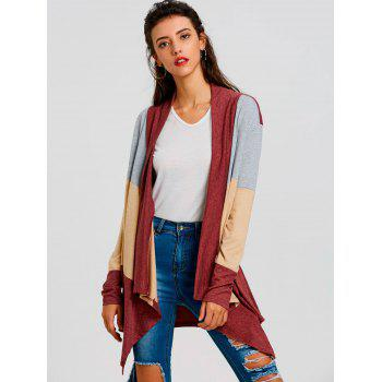 Color Block Striped Cardigan - RED RED