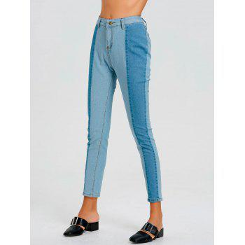 Color Block Striped Jeans - BLUE BLUE