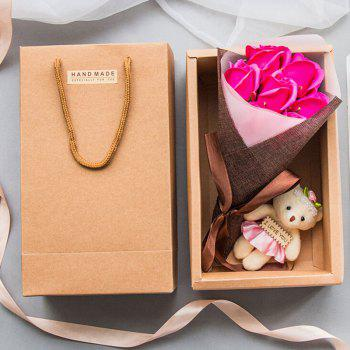 Handmade Soap Artificial Roses Valentine's Day Gift with Little Bear - PINK PINK