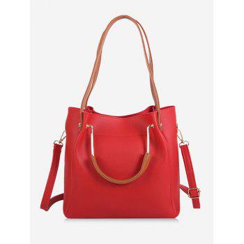 Multi Function Faux Leather Shoulder Bag - RED RED