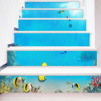 Undersea Fishes Stair Riser Stickers - BLUE BLUE