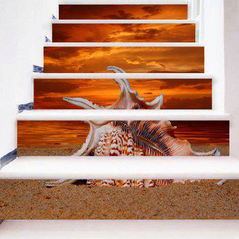 Sea Conch and Sunset Glow Stair Riser Stickers - ORANGE 100*18CM*6PCS
