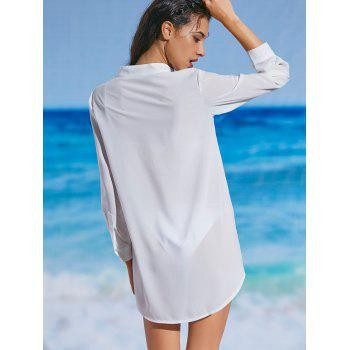 Slit Chiffon Sheer Cover-up Shirt - WHITE WHITE