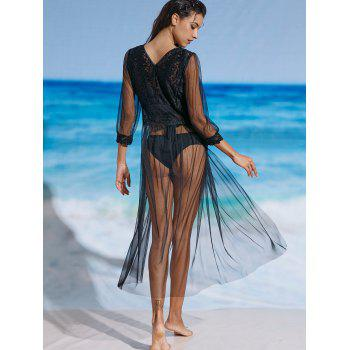 Mesh Lace Sheer Long Cover Up Dress - BLACK BLACK