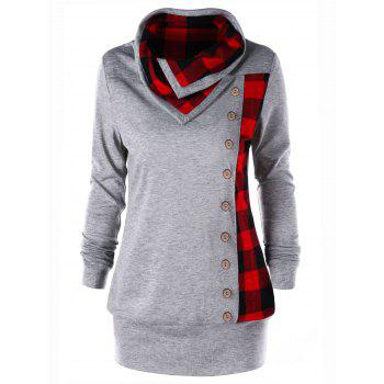 Plus Size Plaid Cowl Neck Tunic Sweatshirt - HEATHER GRAY HEATHER GRAY