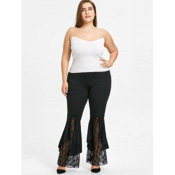 Lace Trim Plus Size Flare Leggings - BLACK 2XL