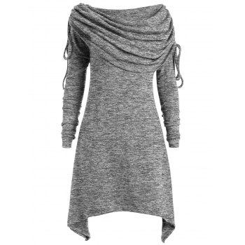 Plus Size Ruched Long Foldover Collar Top - GRAY GRAY