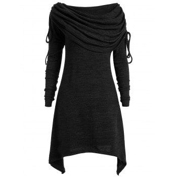 Plus Size Ruched Long Foldover Collar Top - BLACK BLACK