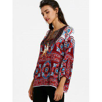 Tie Front Bandana Floral Bohemian Blouse - WINE RED M