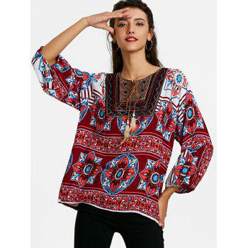 Tie Front Bandana Floral Bohemian Blouse - WINE RED L