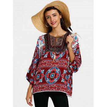 Tie Front Bandana Floral Bohemian Blouse - WINE RED XL