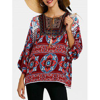 Tie Front Bandana Floral Bohemian Blouse - WINE RED WINE RED