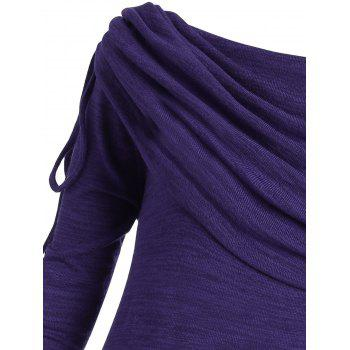Plus Size Ruched Long Foldover Collar Top - PURPLE 5XL