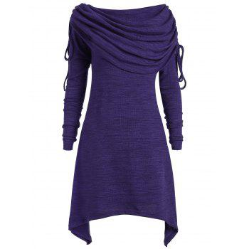 Plus Size Ruched Long Foldover Collar Top - PURPLE PURPLE
