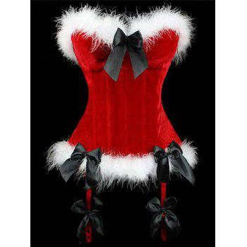 Christmas Velvet Corset Top with Faux Fur Hem - RED RED