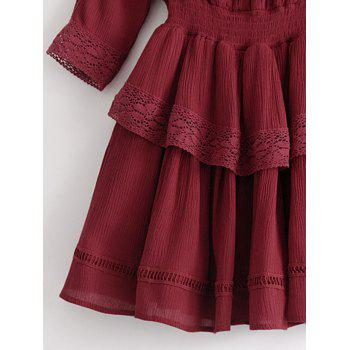 Lacee Trim Ruffles Mini Dress - WINE RED M