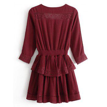 Lacee Trim Ruffles Mini Dress - WINE RED L
