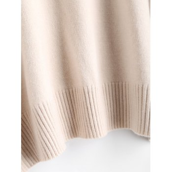 High Neck Ribbed Panel Sweater - APRICOT ONE SIZE