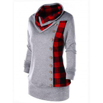 Plus Size Plaid Cowl Neck Tunic Sweatshirt - HEATHER GRAY 2XL