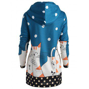 Plus Size Long Polka Dot Kitten Hoodie - BLUE 3XL