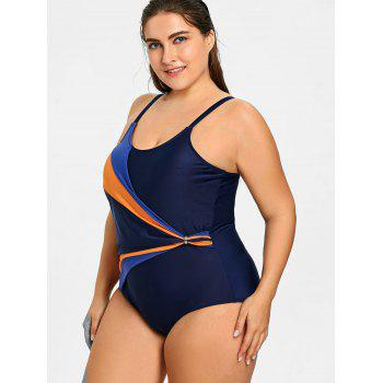 Plus Size Line Graphic Ruched One Piece Swimsuit - PURPLISH BLUE 4XL