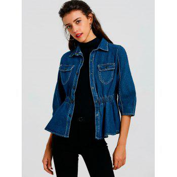 Denim High Waist Button Up Jacket - BLUE M