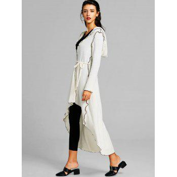 Hooded Scalloped Asymmetric Long Coat - WHITE M