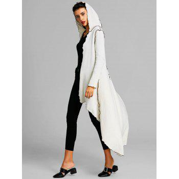 Hooded Scalloped Asymmetric Long Coat - WHITE L