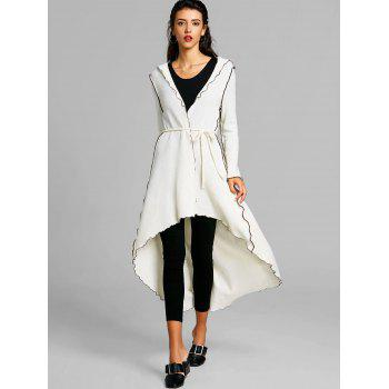 Hooded Scalloped High Low Maxi Coat - WHITE L