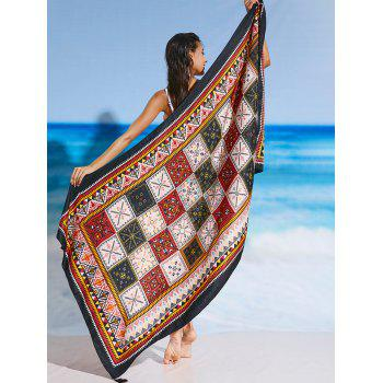 Tassel Rectangle Tribal Print Beach Throw - FLORAL ONE SIZE