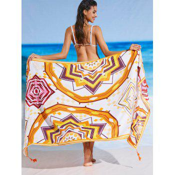 Rectangle Printed Tassel Sunbath Beach Throw - FLORAL ONE SIZE
