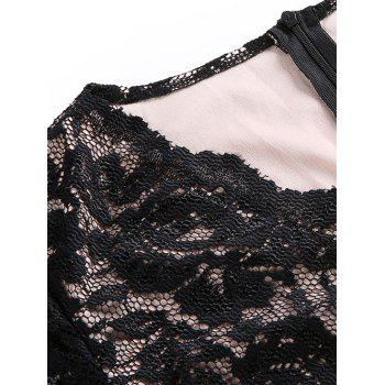 Lace Long Sleeve Bodycon Dress - BLACK L