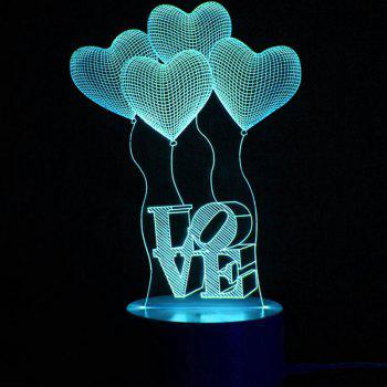 Mothers Day Valentine Heart Ballon Pattern Love Confession Gifts Night Light - TRANSPARENT