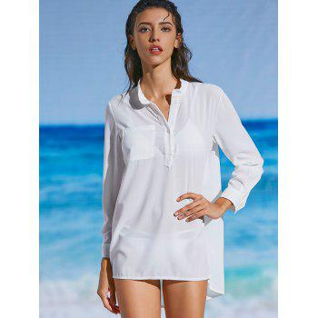 Slit Chiffon Sheer Cover-up Shirt - WHITE 2XL