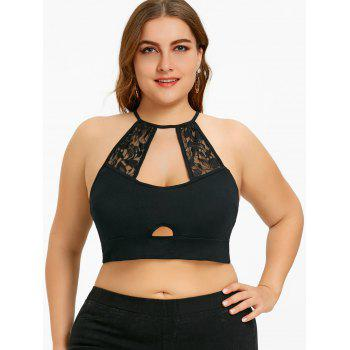 Plus Size Cut Out Lace Trim Camisole - BLACK 2XL